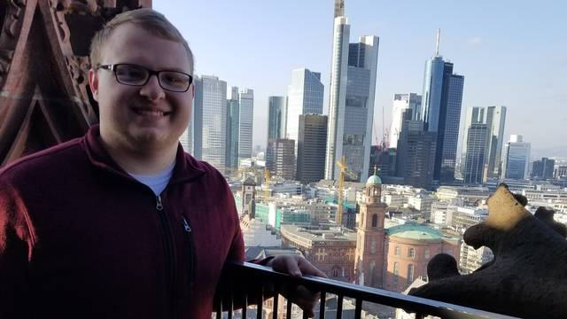 Michael Konetz, who graduated from UW-Eau Claire in December 2020, is shown here during a visit to Frankfurt, Germany, during a study abroad trip in 2018. (Contributed photo)