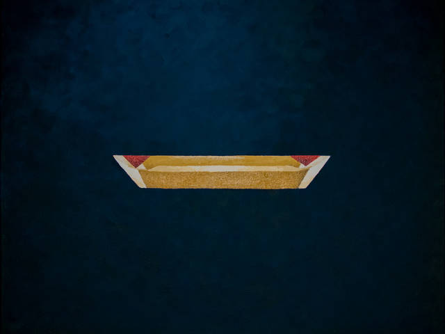 Digital art of a gold trapezoid on a deep blue field by Ma Vue