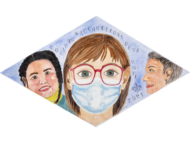 Watercolor of three women, with the center woman as a masked greeter