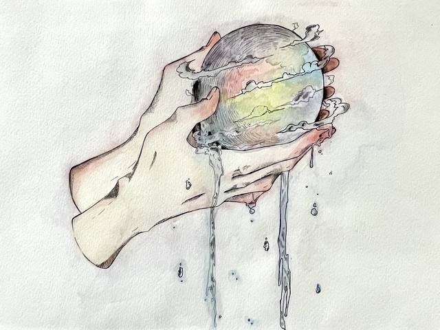 Watercolor image of two hands holding a dripping sphere