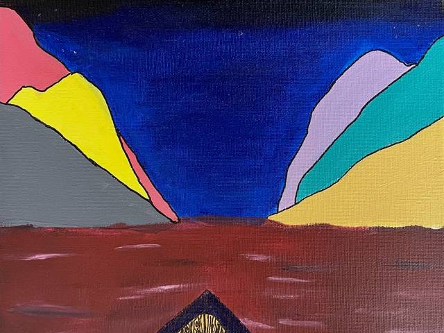 Painting of a boat in red water heading toward a colorful destination in the distance