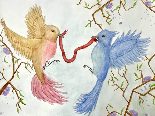 Watercolor painting of two birds holding each end of a red ribbon