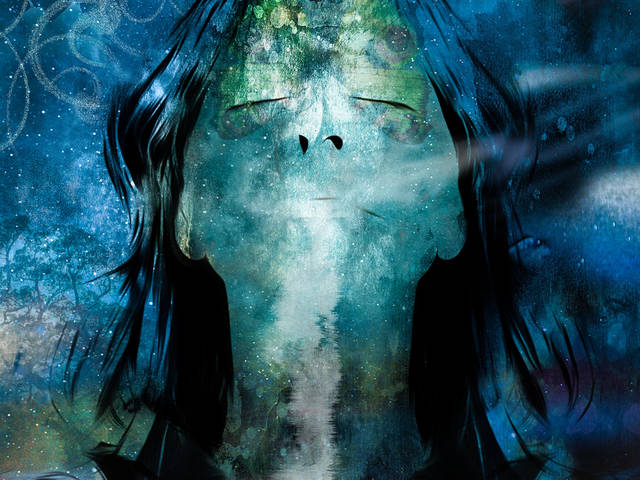 A cool-toned painted image of a woman's portrait as she breathes in deeply with her head back
