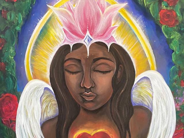 A winged brown-skinned woman portrayed as an angel with a deep read beating heart