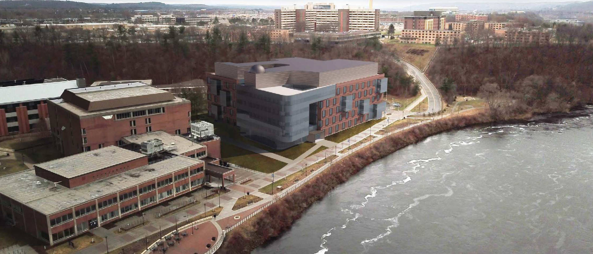 Artist's rendering of aerial view of new Science and Health Sciences Building