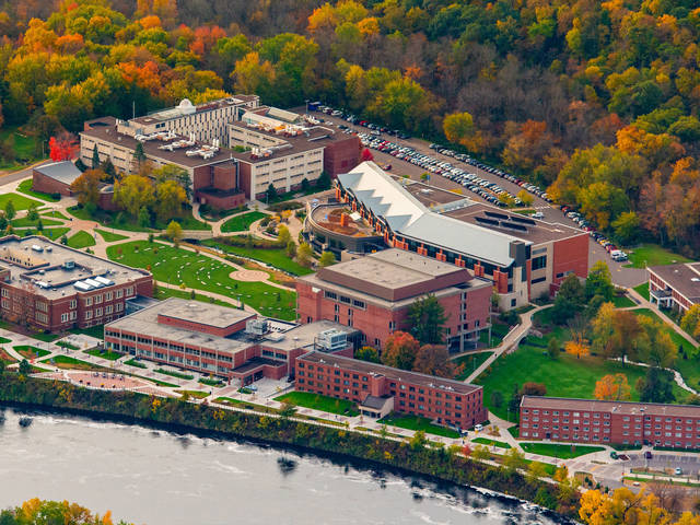A new Science and Health Sciences Building to replace Phillips Hall (upper left) will be constructed on the site of the Putnam (bottom right) and Katharine Thomas (second from bottom right) residence halls on UW-Eau Claire's lower campus.