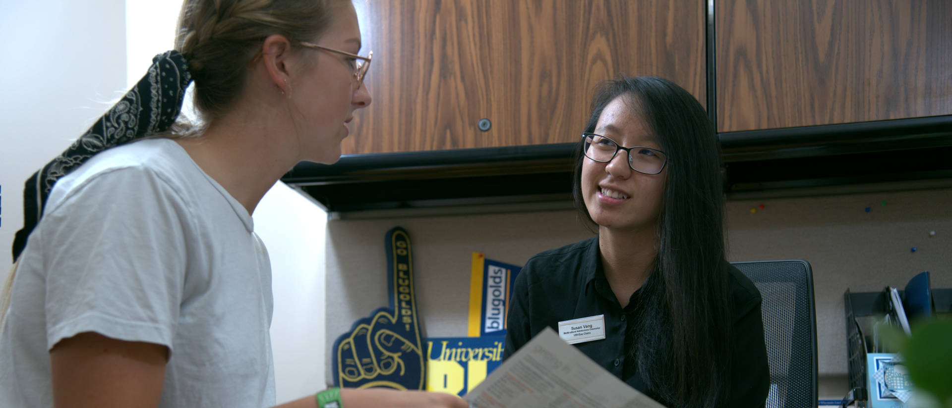 Female counselor advising a student