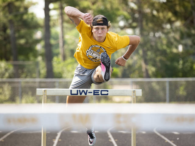 UW-Eau Claire's Marcus Weaver was the star of the 2021 NCAA Division III Outdoor Track & Field Championships, becoming the only man in meet history to win the decathlon and javelin in the same year. (Photo by Shane Opatz)