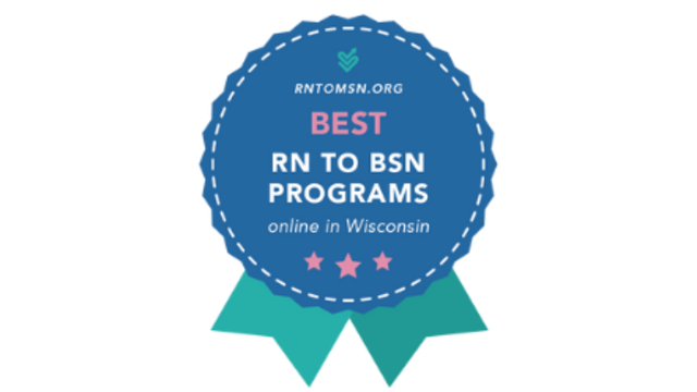 Badge from rntomsn.org ranking UWEC program as one of the best online programs in Wisconsin.