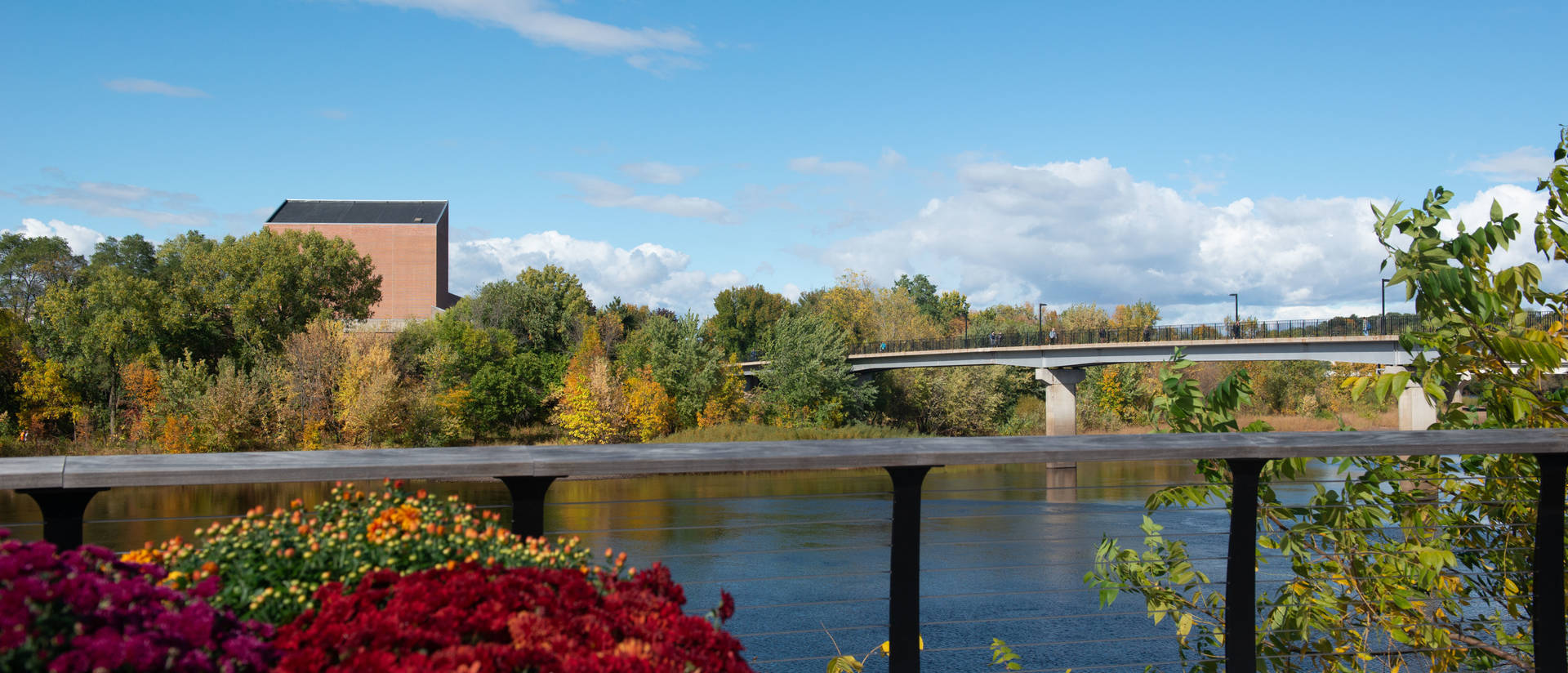 The Haas Fine Arts Center exterior can be scene in this lower campus view of the Chippewa River.