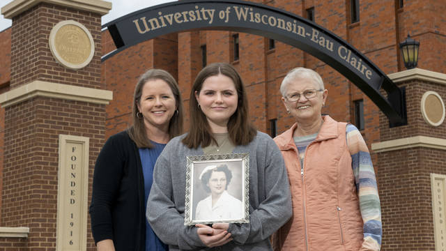 New UW-Eau Claire freshman Lucy Franklin (center) is the fourth generation of Blugolds in her family. Her mother, Beth Franklin, (left) and grandmother, Christy Linderholm, (right) both are UW-Eau Claire graduates.