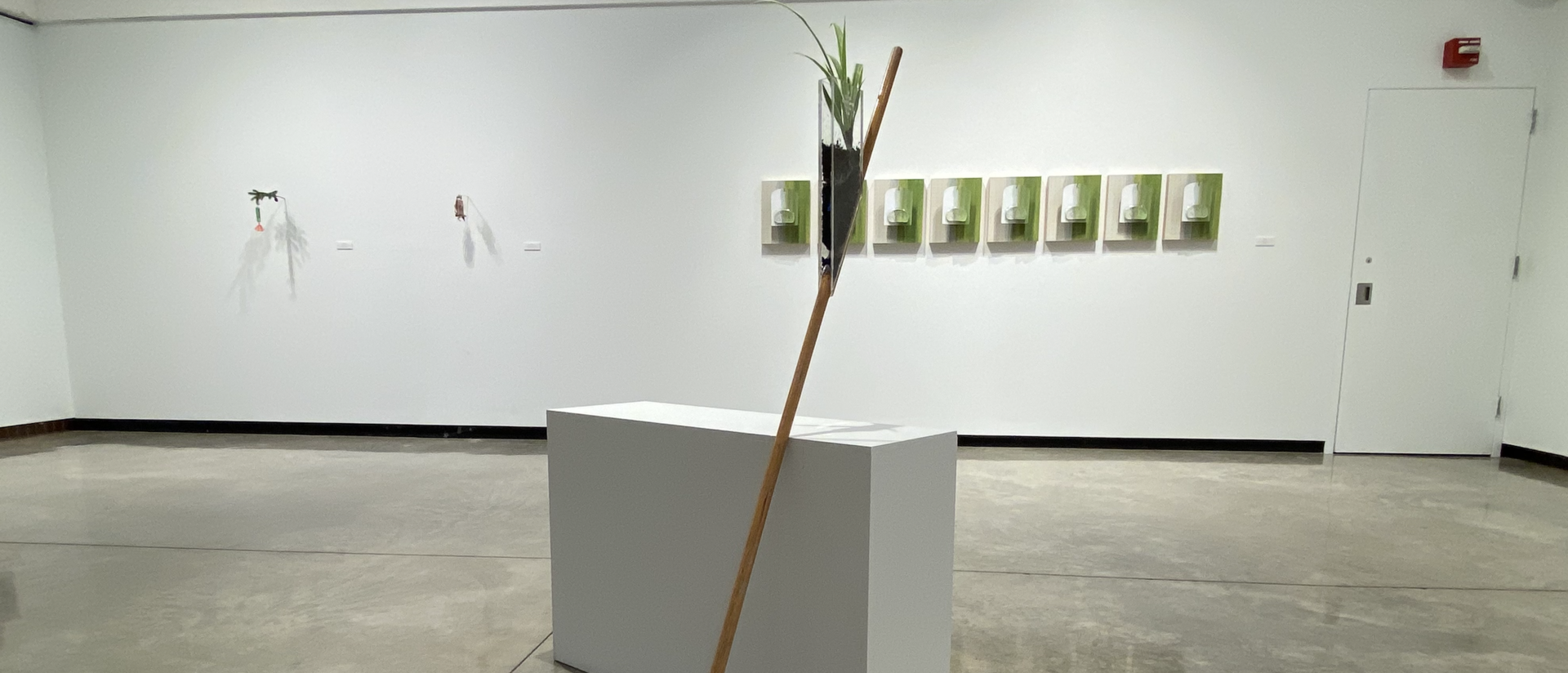 """View of """"I Make This, You Make That"""" art exhibition in the Foster Gallery. It shows a sculpture of a broom with a plant growing in a plexi glass container attached to the broom handle."""