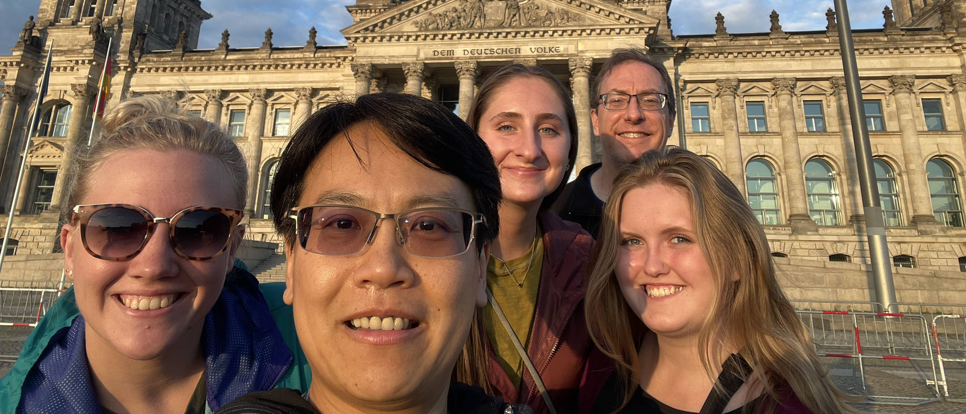 Alyssa Hanson, Dr. Chia-Yu Hsu, Bekah Henn, Dr. Jeff DeGrave and Samantha Maurer (from left) explored Berlin — including the Reichstag Building, which houses the Bundestag, the lower house of Germany's parliament — during a summer immersion program.