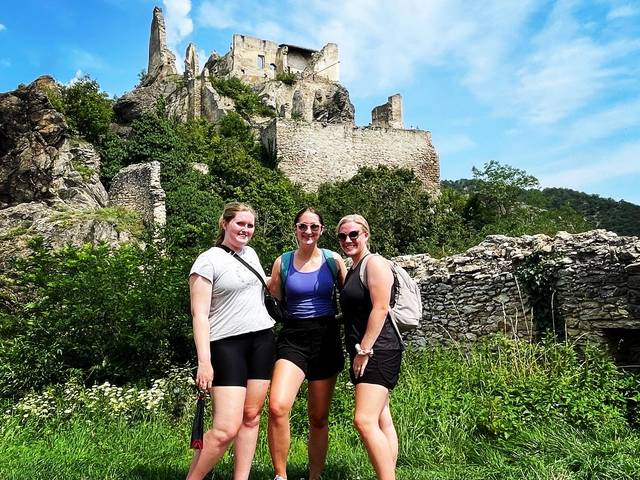 Blugolds (from left) Samantha Maurer, Bekah Henn and Alyssa Hanson biked in the Wachau Valley during a summer immersion program in Central Europe. They visited multiple countries, learning about the history and culture of the region.