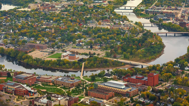 city and campus from air