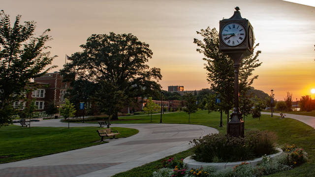 Image of campus at sunset