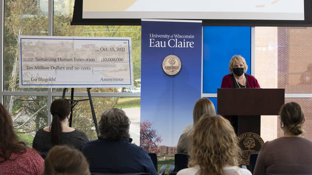 UW-Eau Claire Foundation President Kimera Way in the Flesch Family Welcome Center
