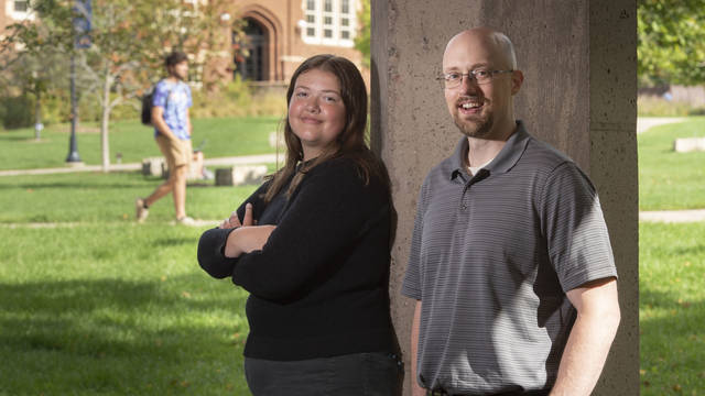 Dr. Eric Kasper teaches political science at UW-Eau Claire, his alma mater. This fall, his daughter, Maddie, joined him on campus and began working toward her own degree in political science. (Photo by Bill Hoepner)