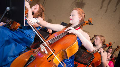 A cellist playing in an ensemble at the Viennese Ball at UW-Eau Claire