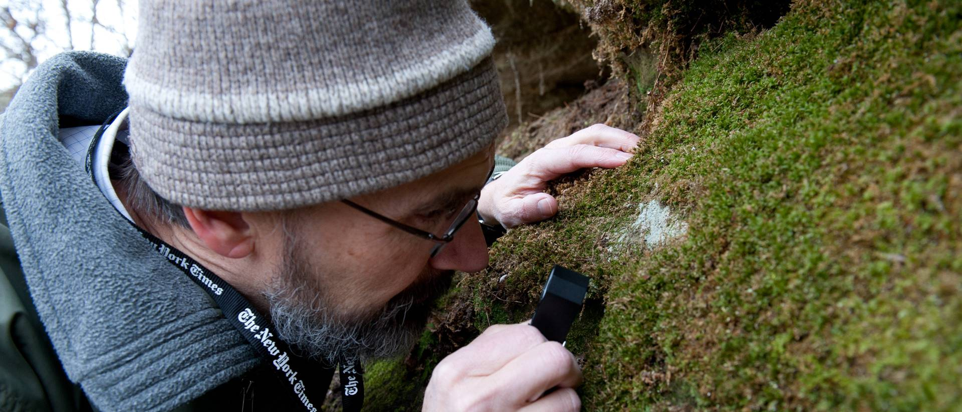 Dr. Joseph Rohrer uses a hand lens to identify moss species found in Putnam Park.