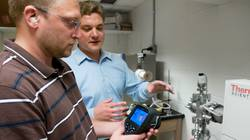 UW-Eau Claire student Jason Luhmann (left) and Dr. Matt Jewell.