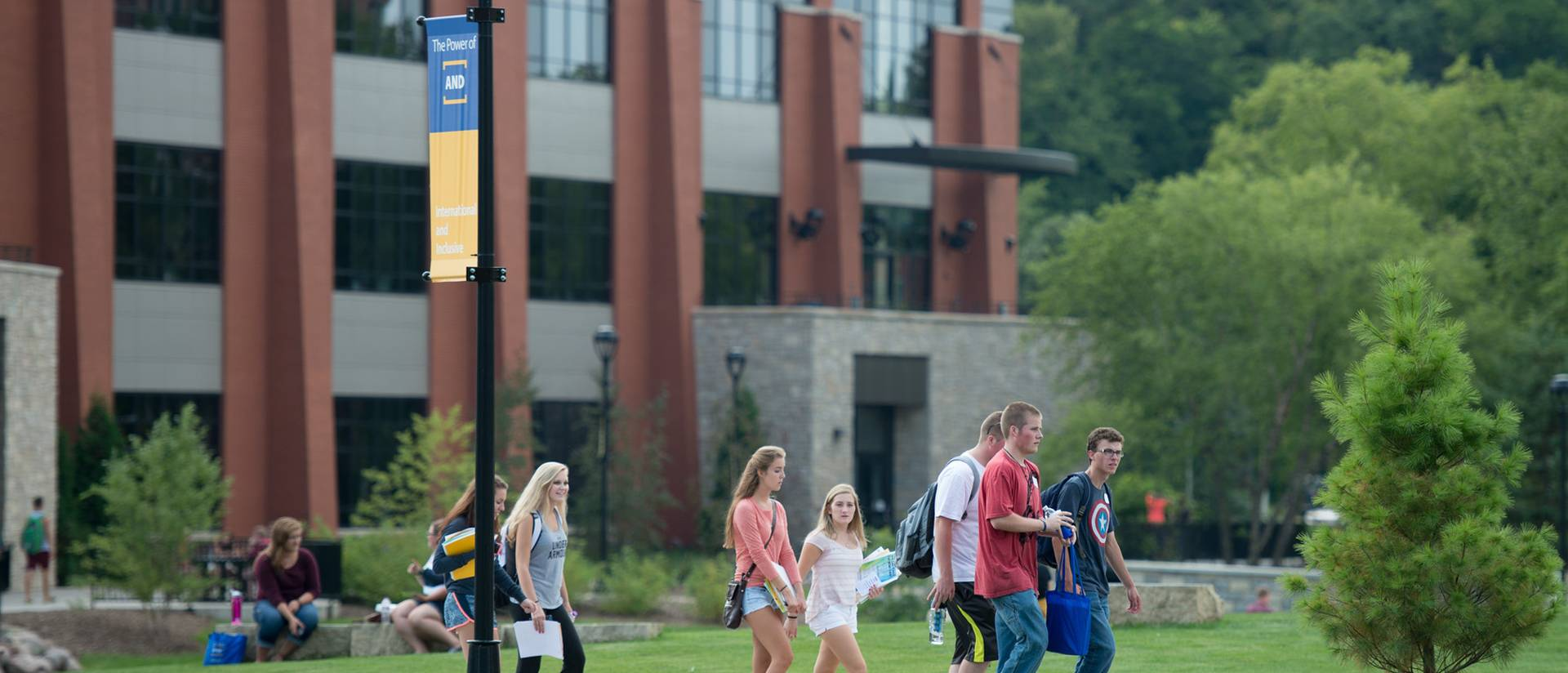 UW-Eau Claire students on campus mall