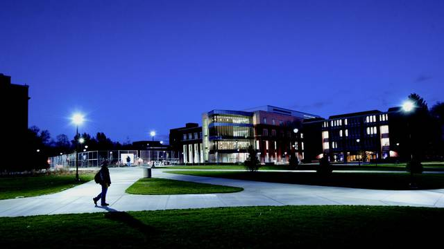 Centennial Hall at dusk