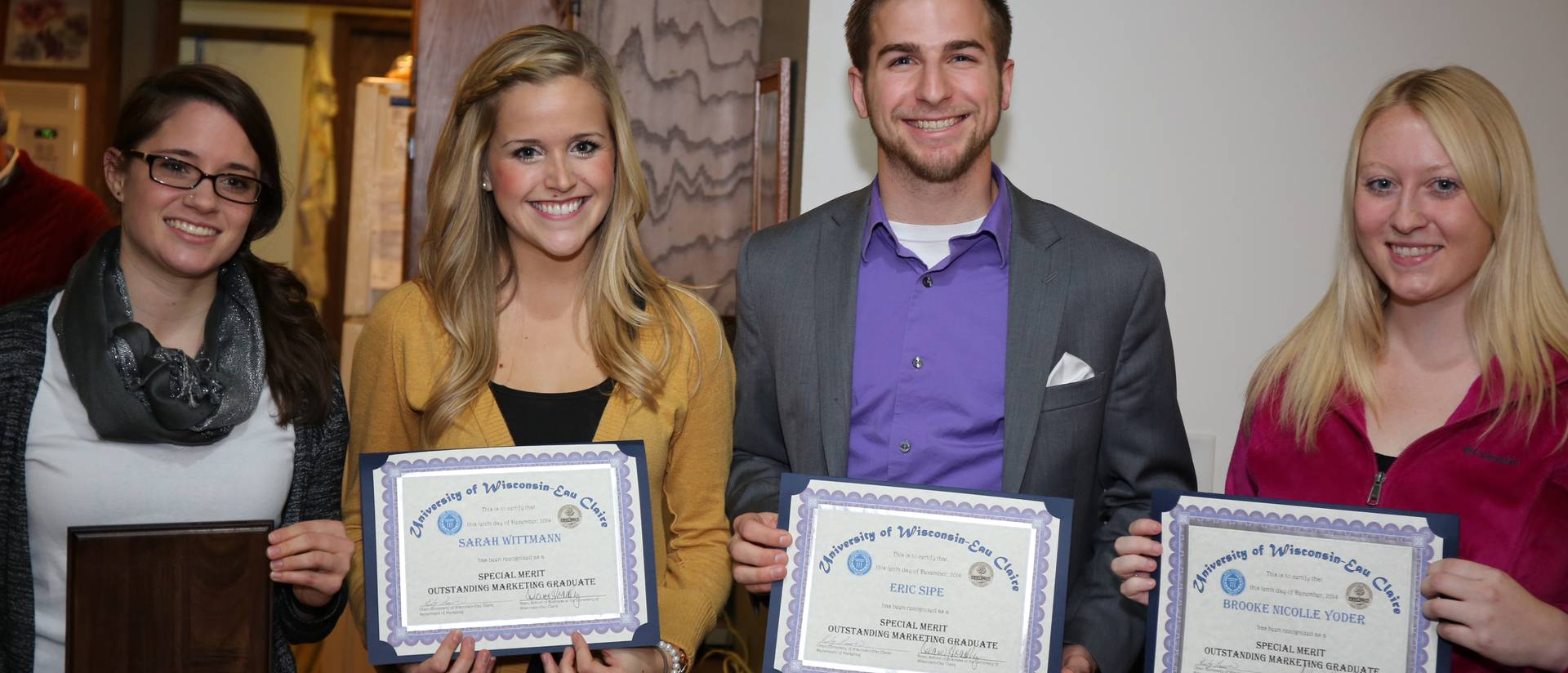 UWEC College of Business 2014 Outstanding Marketing students
