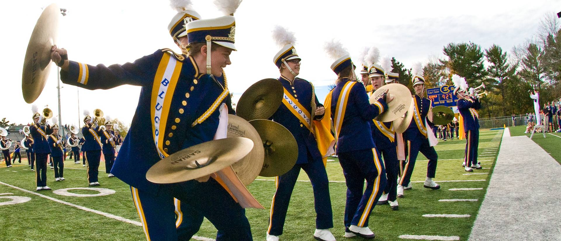 Blugold Marching Band cymbal section
