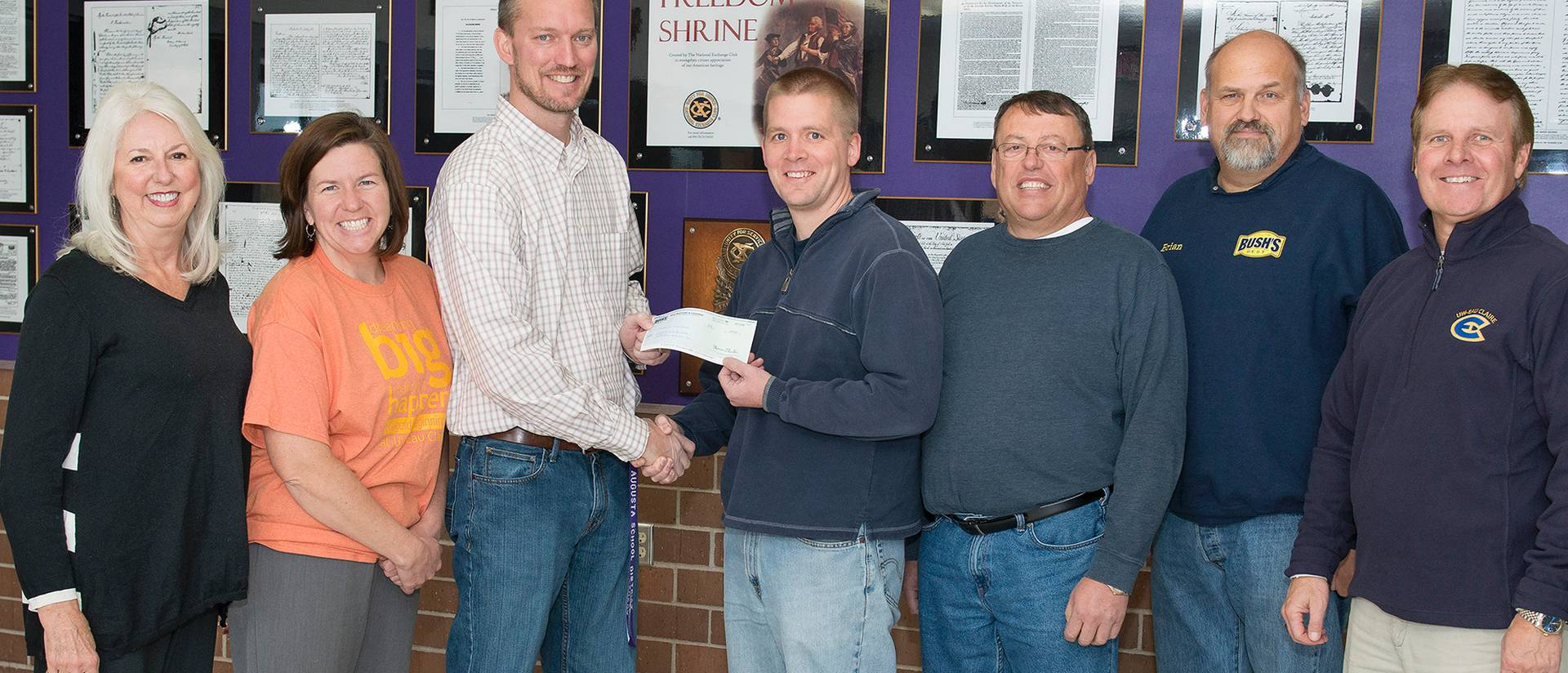 Bush Brothers & Co. of Augusta recently presented $5,000 through the UW-Eau Claire Foundation to support Blugold Beginnings programming in the Augusta schools.