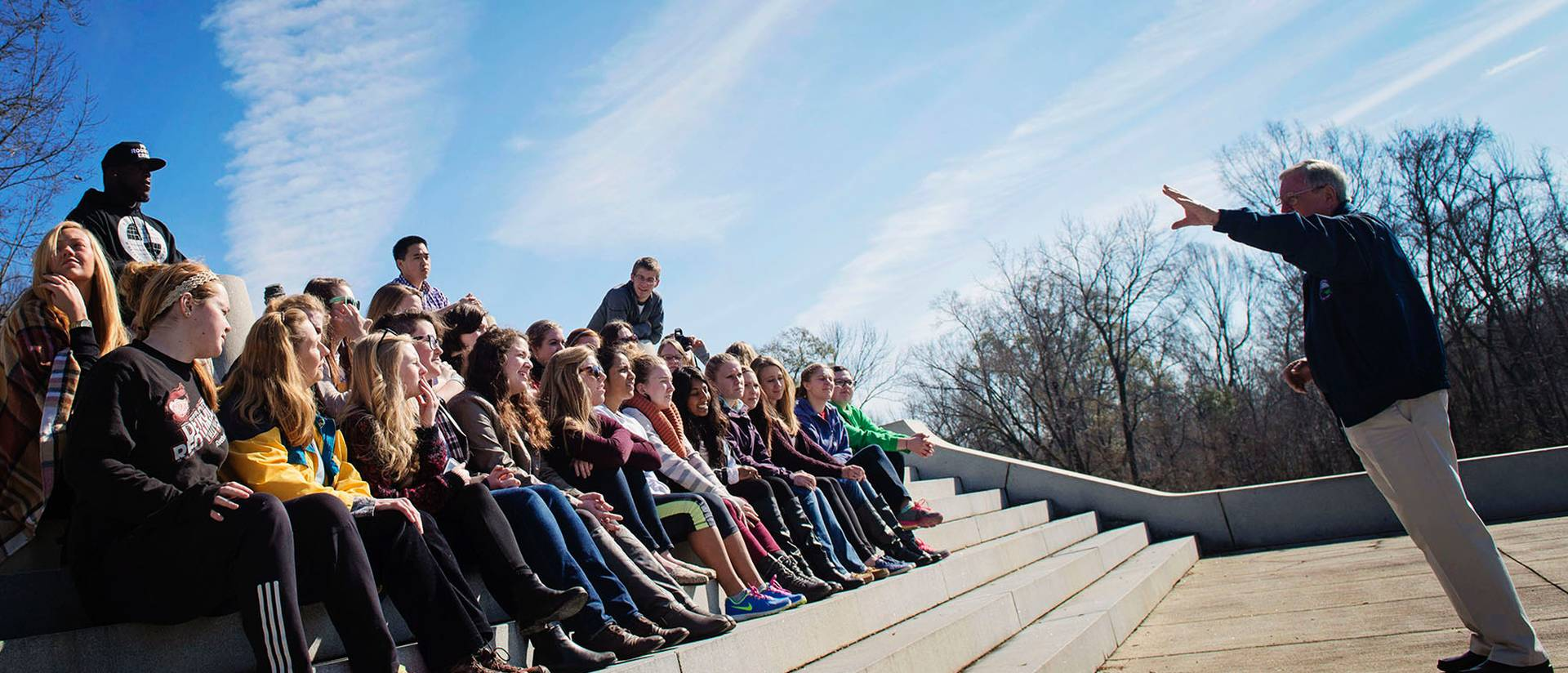 UW-Eau Claire students on the winter 2015 Civil Rights Pilgrimage learn the important role African-Americans played in the Union's Civil War victory during a visit to the Vicksburg National Military Park.