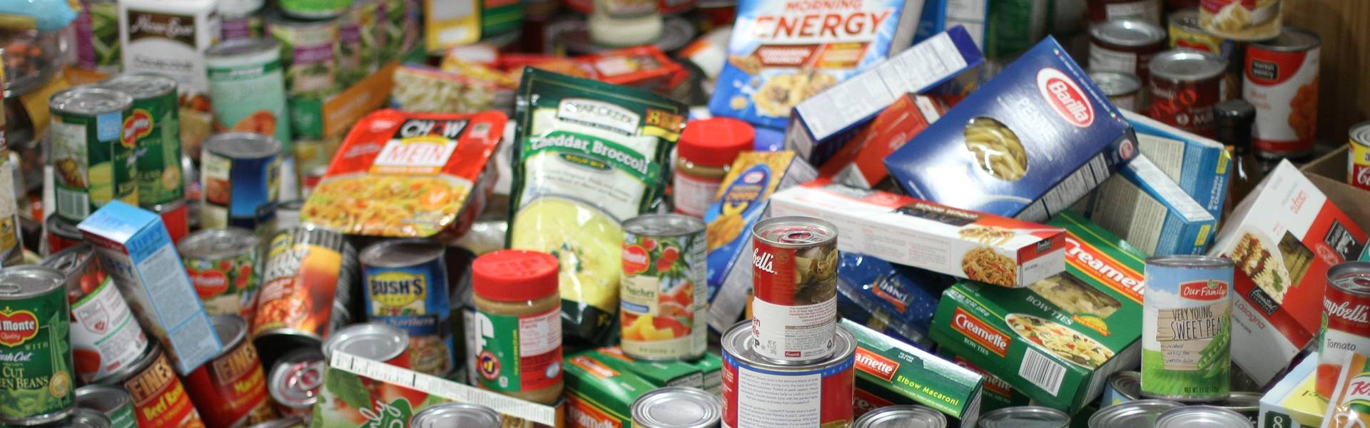 Food pile of donated cans and nonparishable foods