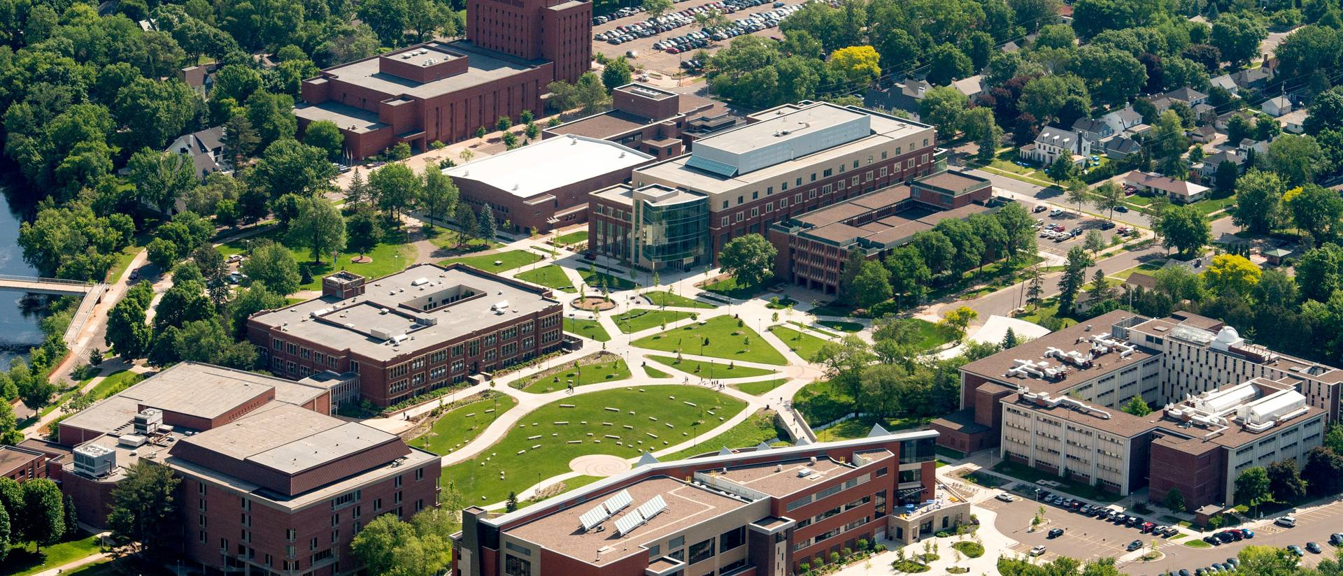 Aerial view of lower UW-Eau Claire campus