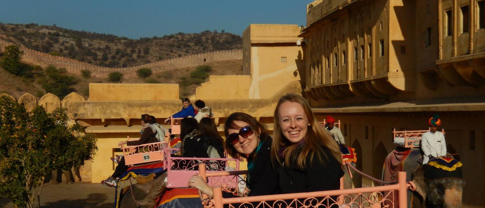 Vanessa Kane (left) riding up to Amber Fort