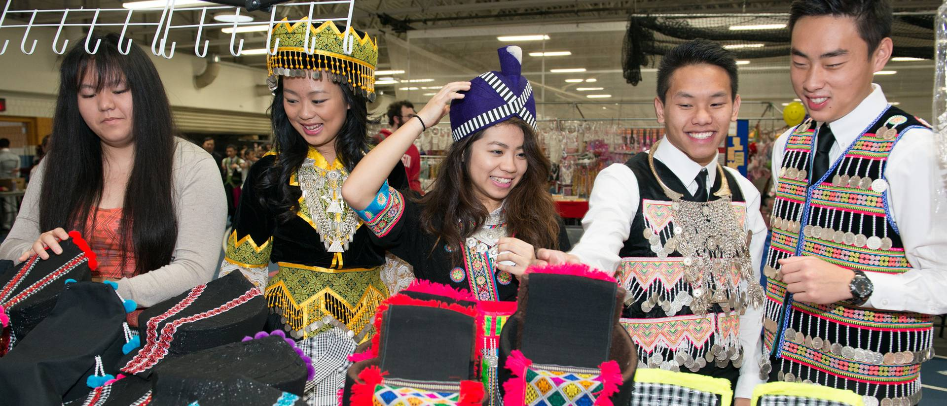 Students in traditional Hmong outfits
