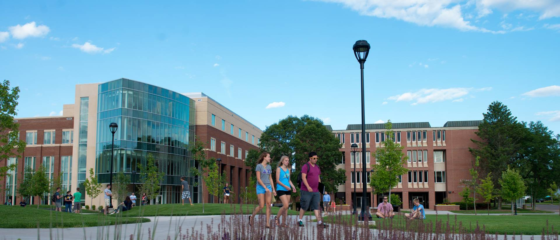 Centennial Hall and students outdoors