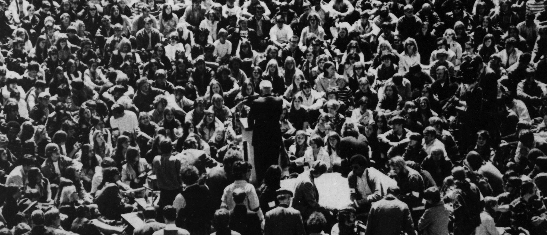 Wisconsin State University-Eau Claire President Leonard Haas addresses 3,500 students on campus May 6, 1970. Photo credit Bill Edgar.