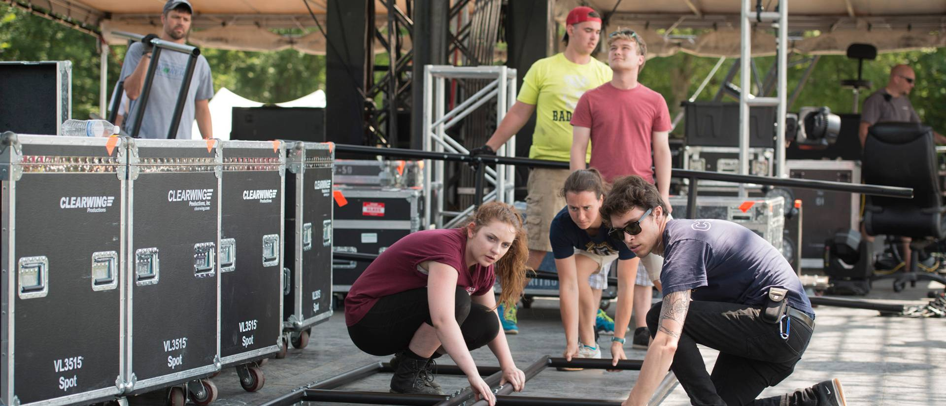 Student staff work at Eaux Claires festival
