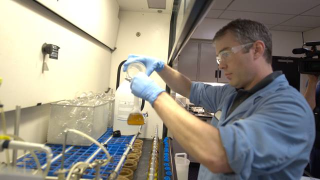 UW-Eau Claire biology graduate works in a lab
