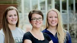 Students receiving Goldwater recognition are, from left, Kelsey Steinke, Sarah Kintner and Elizabeth Stubbs.