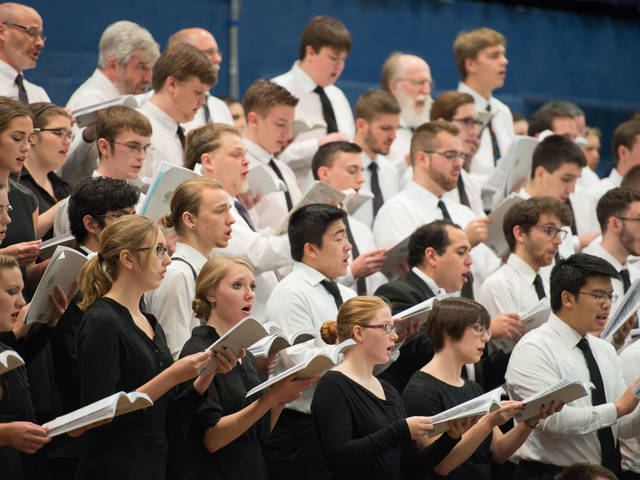 UW-Eau Claire choral section during the annual Holiday Concert.