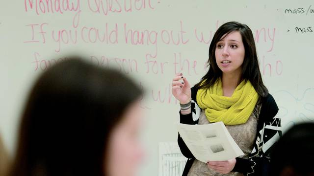 Angela Koch, one of three  2015-16 Fulbright U.S. Student award recipients from UW-Eau Claire, was a student teacher at North High School in Eau Claire.