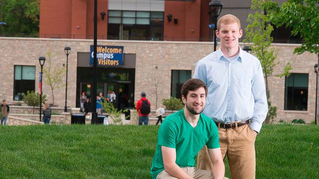 Jared Metropulos, Cameron, and Brandon Stradel, Denmark, who both graduated from UW-Eau Claire in May