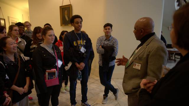 UW-Eau Claire students and Aroine Irby, docent at the Alabama state Capitol in Montgomery.