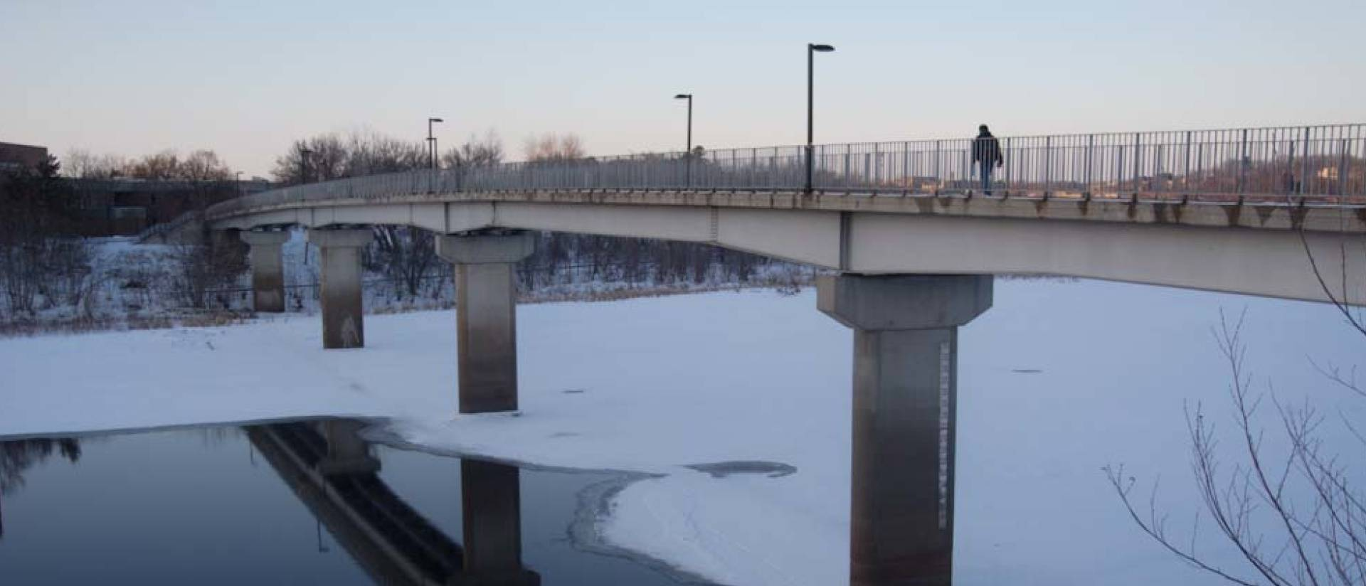 UW-Eau Claire footbridge on winter day