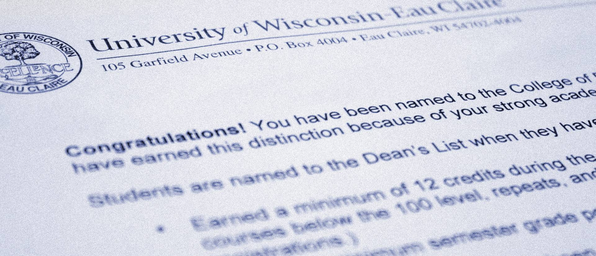 Photo of Dean's List congratulatory letter