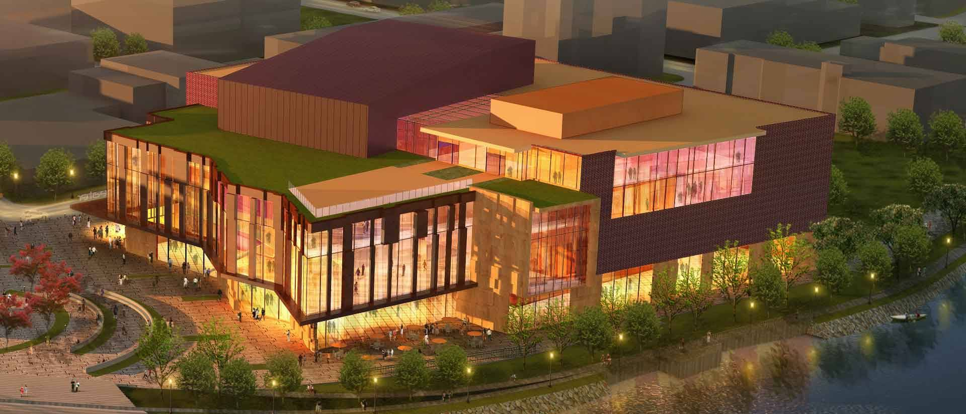 Initial artist's rendering of Confluence Arts Center