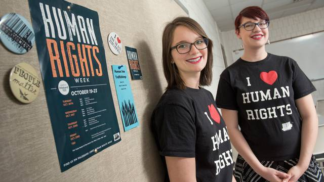 Blugolds Nikki Hanto (left) and Brie Sweeney work to raise awareness on campus and in the community about issues relating to human trafficking.