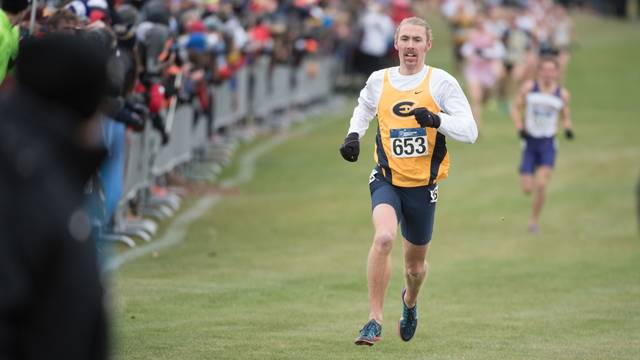 Josh Thorson runs in the 2015 DIII Men's Cross Country Championship race.