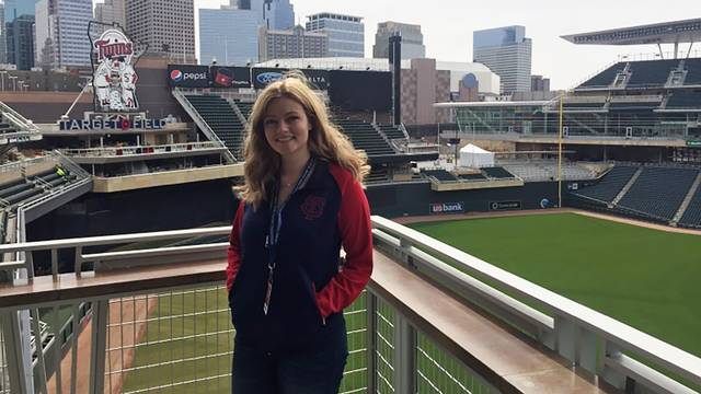 Erin Kelly in front of Target Field